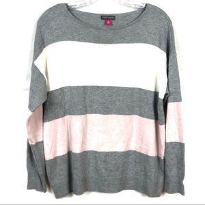 Vince Camuto Pink, White, and Gray Striped Sweater